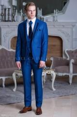 Carlo Benetti Esküvői öltöny+mellény szett 5 részes extra méret- Királykék Öltönyök, Zakók