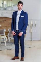 Carlo Benetti Esküvői öltöny+mellény szett 5 részes extra méret - Kék Öltönyök, Zakók