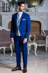 Carlo Benetti Esküvői öltöny+mellény szett 5 részes extra méret - Középkék Öltönyök, Zakók