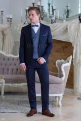 Carlo Benetti Esküvői öltöny+mellény szett 5 részes extra méret- Kék Öltönyök, Zakók