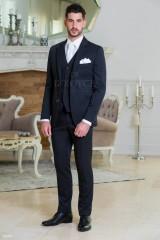Carlo Benetti Esküvői öltöny+mellény szett 5 részes extra méret - Fekete-fehér Öltönyök, Zakók