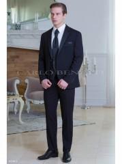 Carlo Benetti Esküvői öltöny+mellény szett 5 részes extra méret - Fekete Öltönyök, Zakók