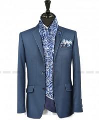 Carlo Benetti Gyapjús zakó - Kék Férfi kabát, zakó