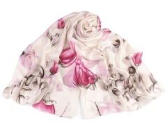Szatén kendő virágos - Krém Női sálak, kendők