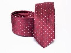 Prémium selyem selyem nyakkendő - Bordó pöttyös Selyem nyakkendők