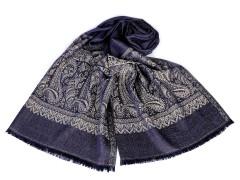 Sál ornamentekkel és lurexel - Kék Férfi kesztyű, sál