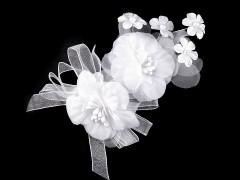 Bross hajdísz virággal - Fehér Ékszerek, hajdíszek