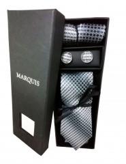 Marquis nyakkendő szett - Szürke mintás Kockás nyakkendők