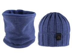 Férfi téli sapka és nyakmelegítő szett - Kék Férfi kalap, sapka