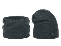 Férfi téli sapka és nyakmelegítő szett - Sötétszürke Férfi kalap, sapka
