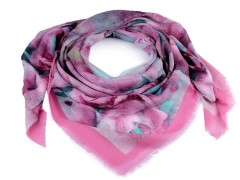 Kendő batikolt virággal - Rózsaszín