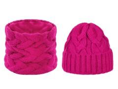Női téli sapka és sál készlet - Pink Női kalap, sapka