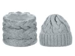 Női téli sapka és sál készlet - Szürke Női kalap, sapka