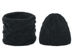 Női téli sapka és sál készlet - Fekete Női kalap, sapka