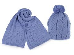 Női téli sál és sapka bojttal - Kék Női kalap, sapka