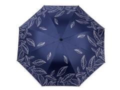 Női összecsukhatós esernyő levél mintás - Sötétkék Női esernyők