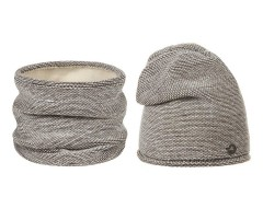 Női téli sapka és nyakmelegítő szett - Bézs Női kalap, sapka