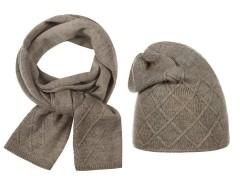 Női téli sapka és nyakmelegítő szett - Mogyoró Női kalap, sapka