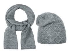 Női téli sapka és nyakmelegítő szett - Szürke Női kalap, sapka