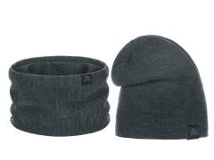 Téli sapka és nyakmelegítő szett - Sötétszürke Férfi kalap, sapka