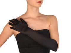 Alkalmi szatén kesztyű 60 cm - Fekete Női kesztyű