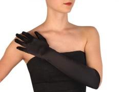 Hosszú alkalmi szatén kesztyű - Fekete Női kesztyű