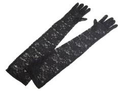 Hosszú csipke kesztű - Fekete Női kesztyű