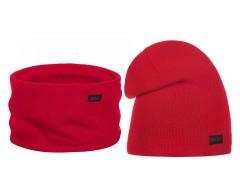 Női téli sapka és sál szett - Piros Női kalap, sapka