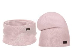 Női téli sapka és sál szett - Rózsaszín Női kalap, sapka