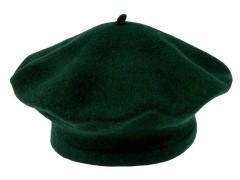 Női gyapjú barett sapka - Sötétzöld Női kalap, sapka