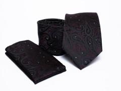 Prémium nyakkendő szett - Fekete mintás Normál nyakkendő