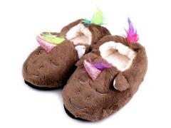 Gyermek egyszarvú otthoni cipő - Barna Gyermek zokni, mamusz