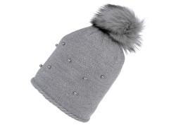 Női téli sapka bojtokkal - Szürke Női kalap, sapka