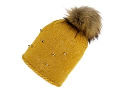 Női téli sapka bojtokkal - Mustár Női kalap, sapka
