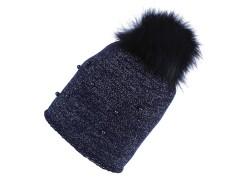 Női téli sapka bojtokkal - Kék Női kalap, sapka