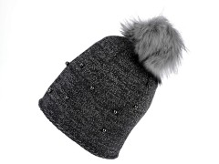 Női téli sapka bojtokkal - Grafit Női kalap, sapka