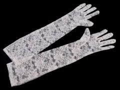 Hosszú alkalmi csipkekesztyű - Fehér Női kesztyű