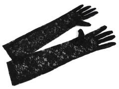 Hosszú alkalmi csipkekesztyű - Fekete Női kesztyű
