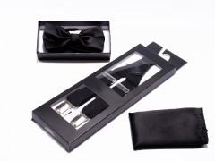 Férfi nadrágtartó-csokonyakkendő szett - Fekete Szettek