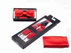 Férfi nadrágtartó-csokonyakkendő szett - Piros Szettek
