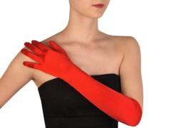 Hosszú alkalmi szatén kesztyű - Piros Női kesztyű