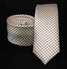 Prémium slim nyakkendő - Drapp kockás Kockás nyakkendők