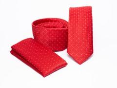 Prémium slim nyakkendő szett - Piros pöttyös Nyakkendő szettek