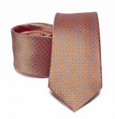 Prémium selyem nyakkendő - Narancs aprómintás Selyem nyakkendők