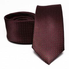 Prémium selyem nyakkendő - Bordó aprópöttyös Selyem nyakkendők