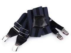 Nadrágtartó eko bőr - Kék-fekete csíkos Férfi nadrágtartók