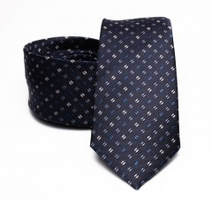 Prémium selyem nyakkendő - Sötétkék aprómintás Aprómintás nyakkendők