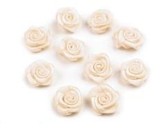 Mini textil virág 10 db/csomag - Ecru Kitűzők, Brossok