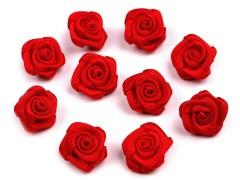 Mini textil virág 10 db/csomag - Piros Kitűzők, Brossok