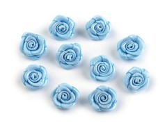 Mini textil virág 10 db/csomag - Világoskék Kitűzők, Brossok